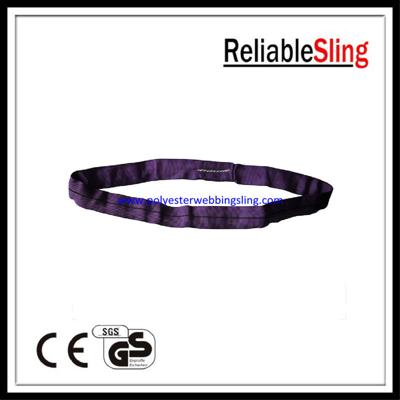 Flat / Round Shape Purple polyester lifting slings safety Low elongation