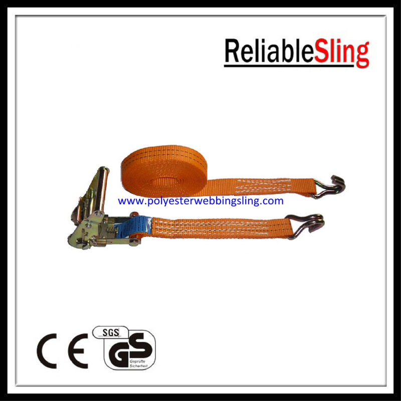 35mm 2T Freight / Cargo Ratchet Tie Down Strap with wire / flat / snap hooks