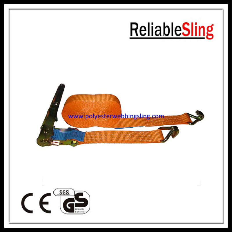 Customized 4m 8m 15m heavy duty Polyester Ratchet Tie Down Strap with J hook