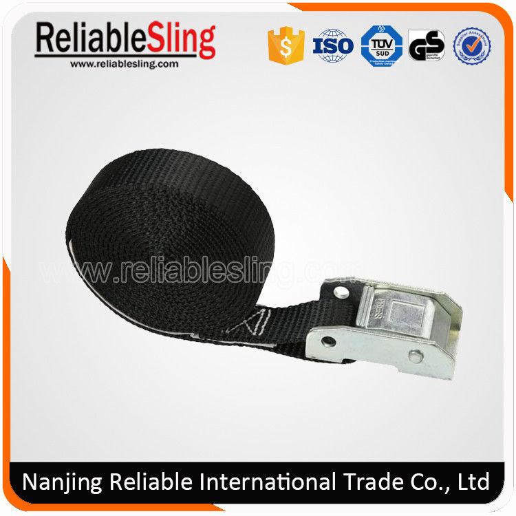 25mm Width Black Ratchet Lashing Cam Lock Buckle Strap / Polyester Webbing Sling