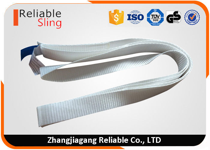 White Polyester Cargo Strap Endless Webbing Sling For Lifting 0.8 Ton 25mm Width