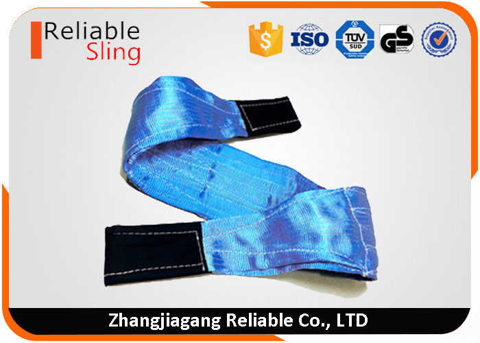 8 Ton Polyester Eye and Eye Flat Webbing Sling Synthetic Hoisting Belt Blue Color