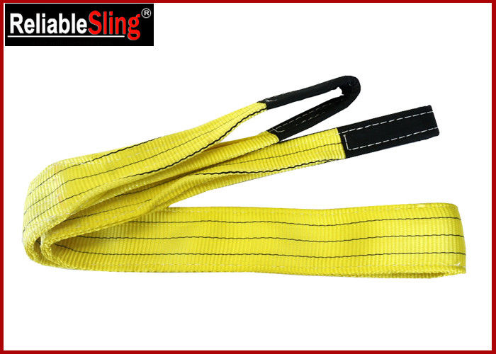 1 Tonne Yellow  Polyester Duplex Flat Webbing Sling with Reinforced Lifting Eyes