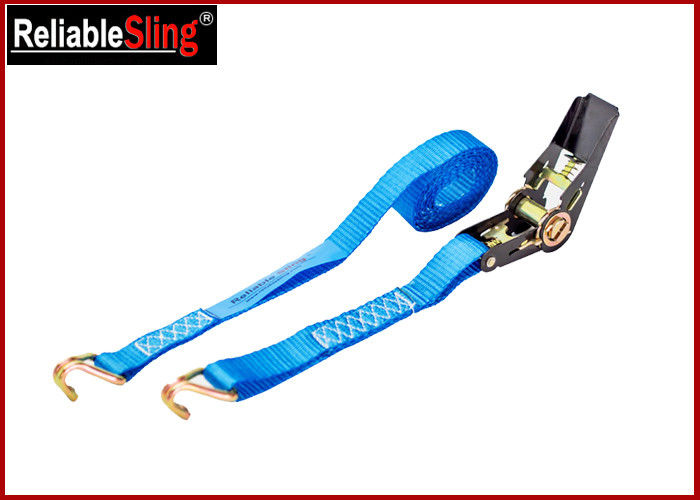 25mm 1T Breaking Strength Durable Ratchet Tie Down Strap , J Hook ratchet straps